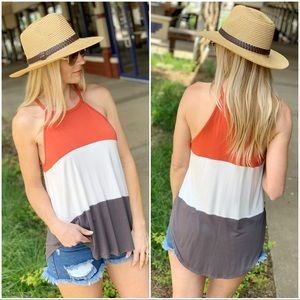 Infinity Raine Tops - Colorblock halter knit tank- coral, white gray